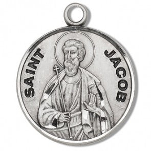 "Saint Jacob 7/8"" Round Sterling Silver Medal"