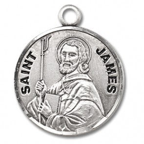 "Saint James 7/8"" Round Sterling Silver Medal"
