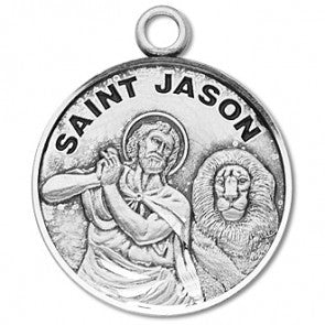 "Saint Jason 7/8"" Round Sterling Silver Medal"