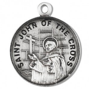 "Saint John of the Cross 7/8"" Round Sterling Silver Medal"