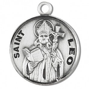 "Saint Leo 7/8"" Round Sterling Silver Medal"