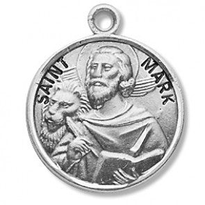 "Saint Mark 7/8"" Round Sterling Silver Medal"