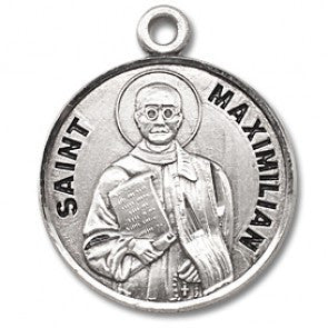 "Saint Maximilian 7/8"" Round Sterling Silver Medal"