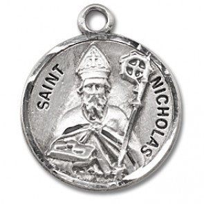 "Saint Nicholas 7/8"" Round Sterling Silver Medal"