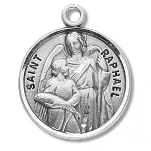 "Saint Raphael 7/8"" Round Sterling Silver Medal"