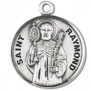 "Saint Raymond 7/8"" Round Sterling Silver Medal"