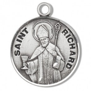 "Saint Richard 7/8"" Round Sterling Silver Medal"