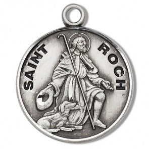 "Saint Roch 7/8"" Round Sterling Silver Medal"