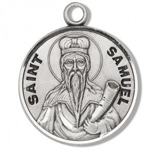 "St. Samuel 7/8"" Round Sterling Silver Medal"