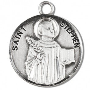 "Saint Stephen 7/8"" Round Sterling Silver Medal"