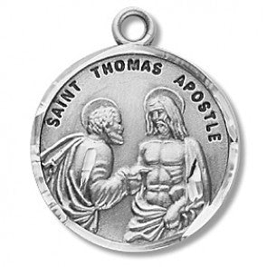 "Saint Thomas the Apostle 7/8"" Round Sterling Silver Medal"