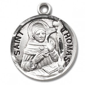 "Saint Thomas 7/8"" Round Sterling Silver Medal"