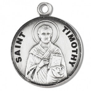 "Saint Timothy 7/8"" Sterling Silver Medal"