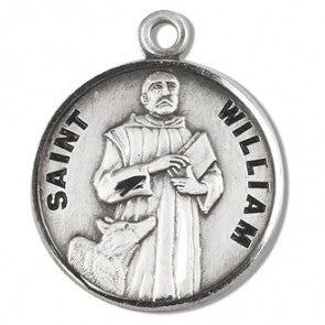 "Saint William 7/8"" Round Sterling Silver Medal"