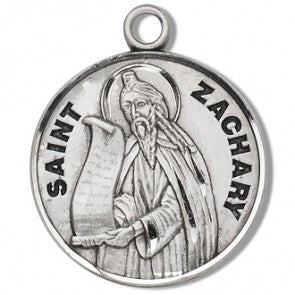 "Saint Zachary 7/8"" Round Sterling Silver Medal"