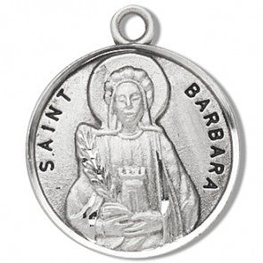 "Saint Barbara 7/8"" Round Sterling Silver Medal"