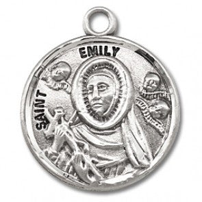 "Saint Emily 7/8"" Round Sterling Silver Medal"