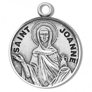 "Saint Joanne 7/8"" Round Sterling Silver Medal"