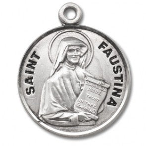 "Saint Faustina 7/8"" Round Sterling Silver Medal"