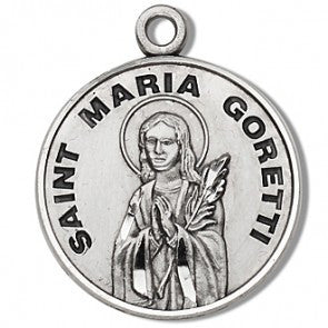 "Saint Maria Goretti 7/8"" Round Sterling Silver Medal"