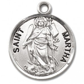 "Saint Martha 7/8"" Round Sterling Silver Medal"