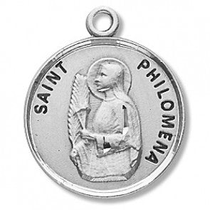 "Saint Philomena 7/8"" Round Sterling Silver Medal"