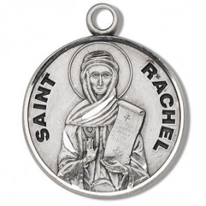 "Saint Rachel 7/8"" Round Sterling Silver Medal"