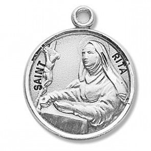 "Saint Rita 7/8"" Round Sterling Silver Medal"