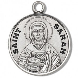 "St. Sarah 7/8"" Round Sterling Silver Medal"