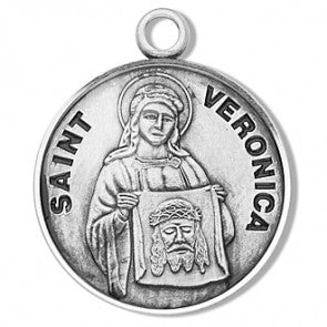 "Saint Veronica 7/8"" Sterling Silver Medal"