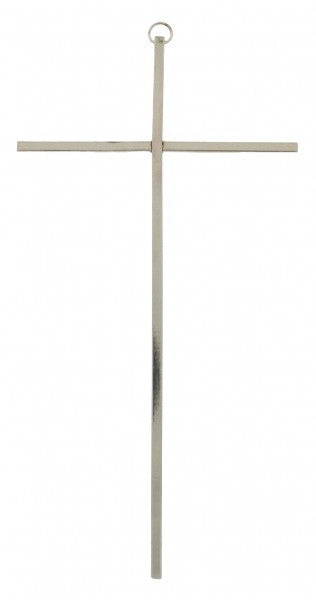 "10"" Slim Silver Tone Wall Cross by Jeweled Cross"