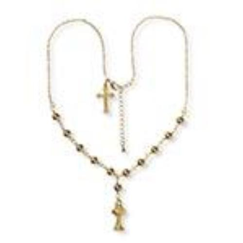 First Communion Necklace with Gold Beads and 2 Charms