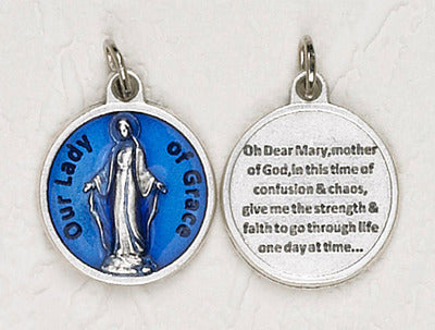 Our Lady Of Grace Blue Enameled 3/4 inch Medal with prayer on back. Oxidized