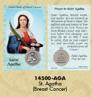 St. Agatha Healing Saints Prayer Card with Medal