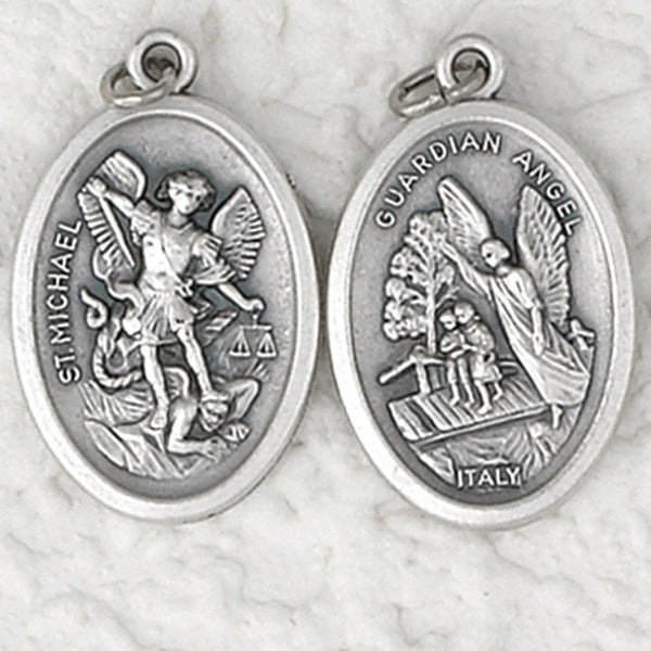 Guardian Angel / St. Michael - 1 inch Double Sided Medal Oxidized
