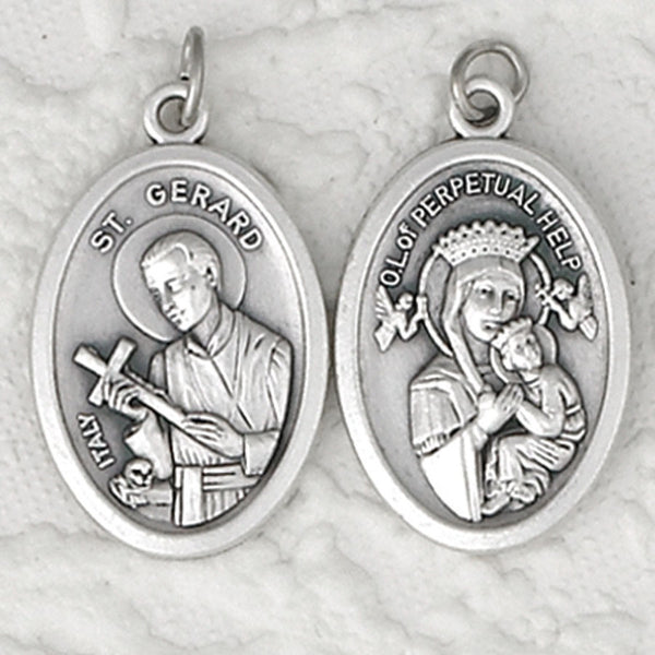 St. Gerard / Perpetual Help - 1 inch Double Sided Medal Oxidized