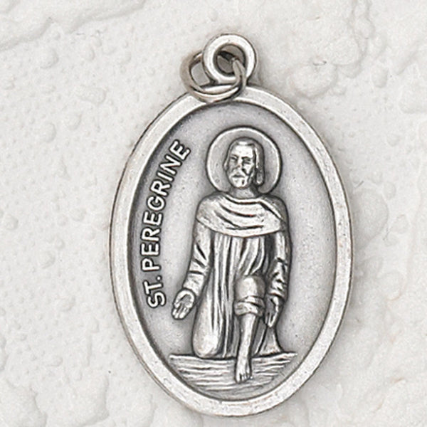 St. Peregrine - 1 inch Pray for Us Medal Oxidized