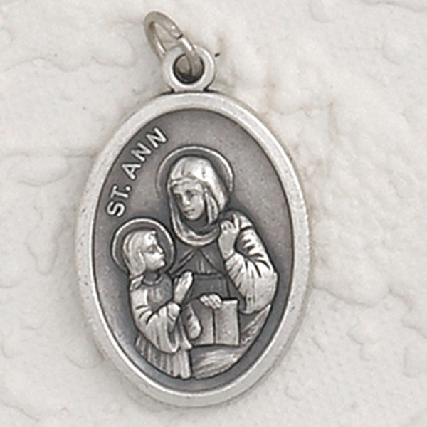 St Anne - 1 inch Pray for Us Oxidized Medal