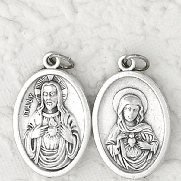 Sacred Heart and Immaculate Heart- 1 inch Double Sided Medal Oxidized
