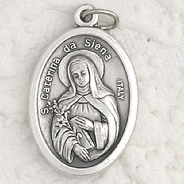 St. Catherine of Siena - 1 inch Pray for Us Oxidized Medal