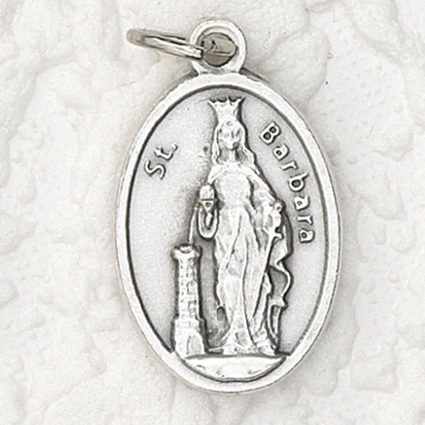 St. Barbara - 1 inch Pray for Us Oxidized Medal