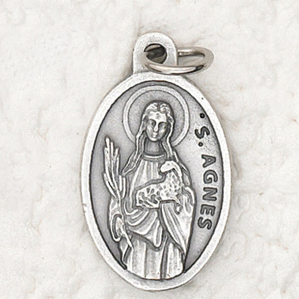 St. Agnes - 1 inch Pray for Us Oxidized Medal