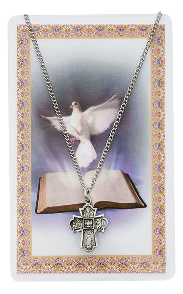 "4 Way Medal Pewter with Holy Spirit Holy Card 18"" Chain"
