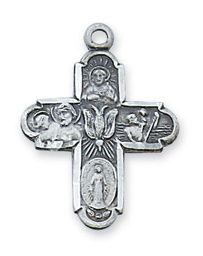 "4 Way Medal Pewter with 18"" Chain from McVan Inc. with Holy Carc"