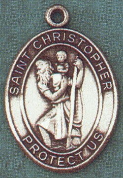St. Christopher Pewter Saint Medal Necklace with Prayer Card