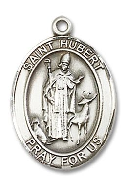 St. Hubert Oval Pewter Medal Necklace with Holy Card