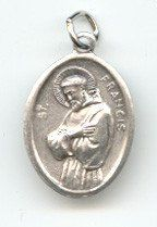 St. Francis of Assisi 1 inch with Third Class Relic Oxidized Medal