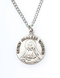 St. Francis Cabrini Pewter Necklace with Holy Card