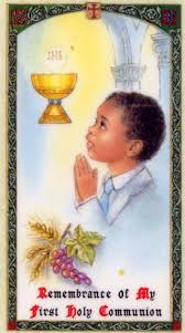 First Communion Prayer Card Boy Laminate