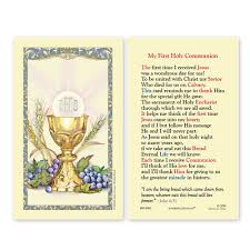 First Communion Chalice Holy Card Laminate
